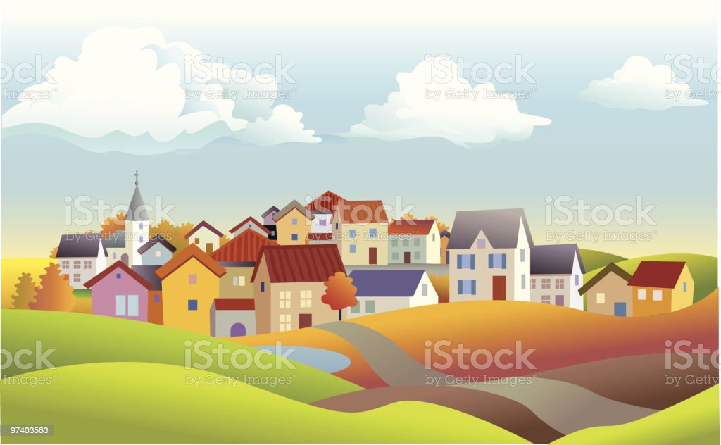 Autumn landscape with houses vector art illustration