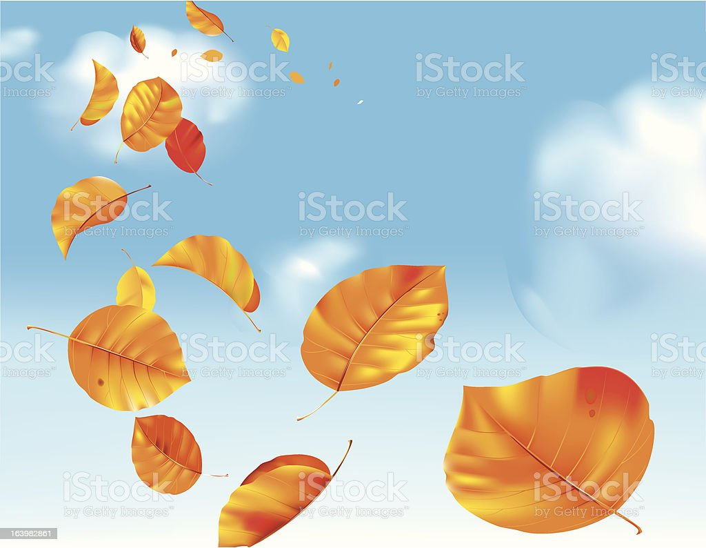 Autumn leafs at wind royalty-free stock vector art