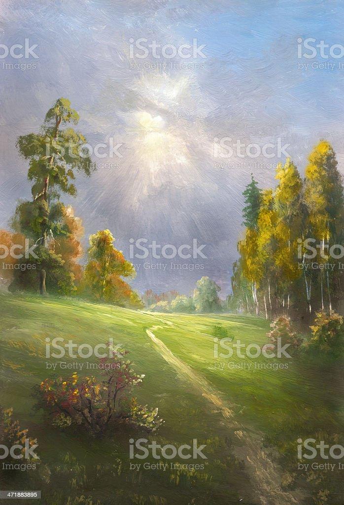 Autumn sun vector art illustration