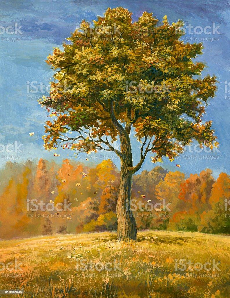 Autumn tree vector art illustration