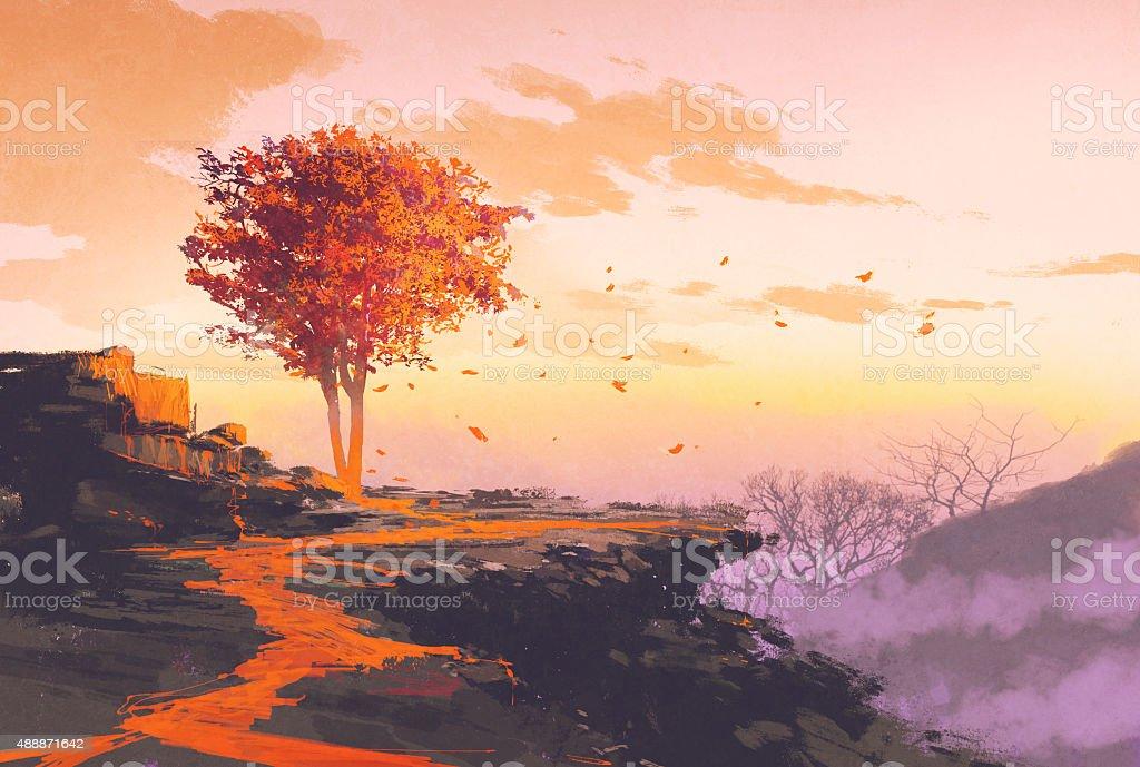 autumn tree on top of the mountain vector art illustration