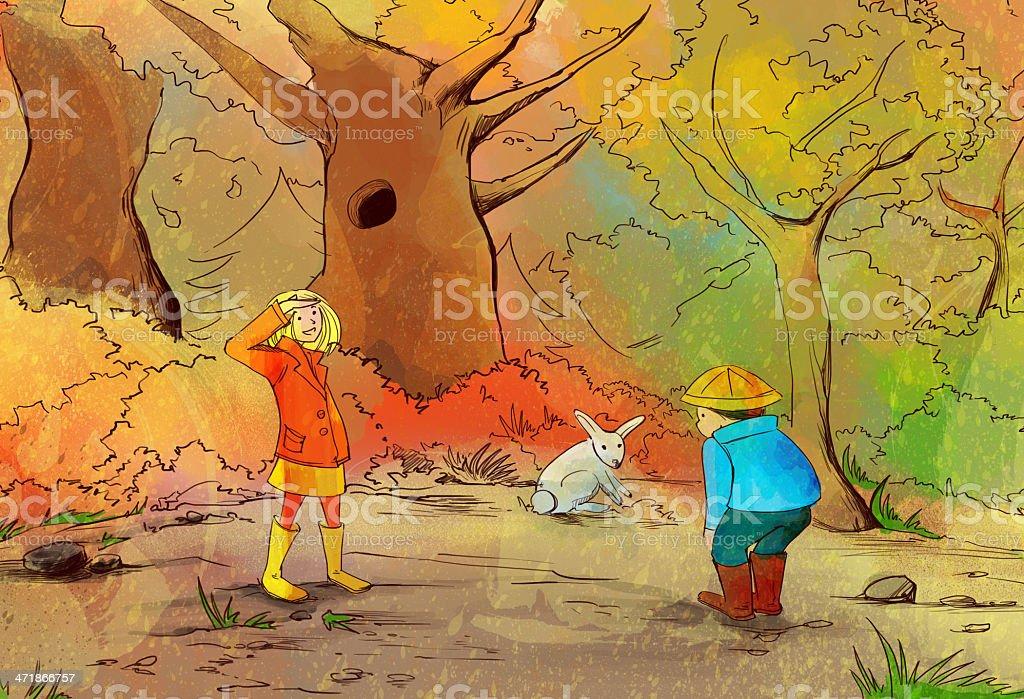 Autumn walk royalty-free stock vector art