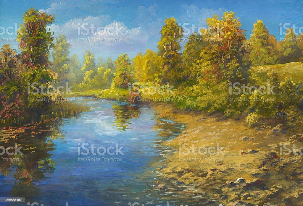 Autumn water vector art illustration