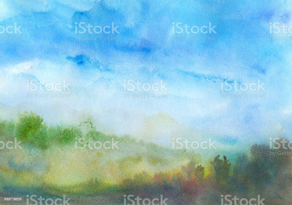 Autumn watercolor landscape vector art illustration