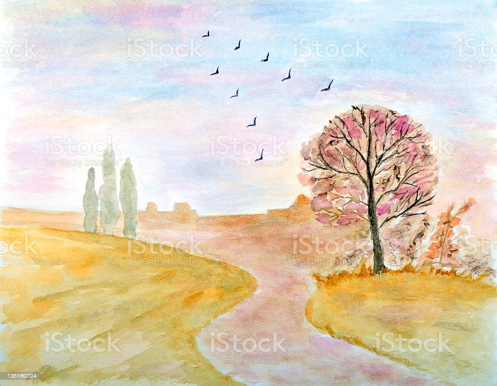 Autumnal Rural Landscape royalty-free stock vector art