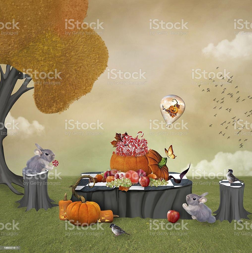 Autumnal sweet pic-nic vector art illustration
