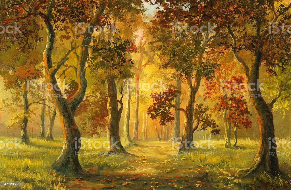 autumnal walk vector art illustration