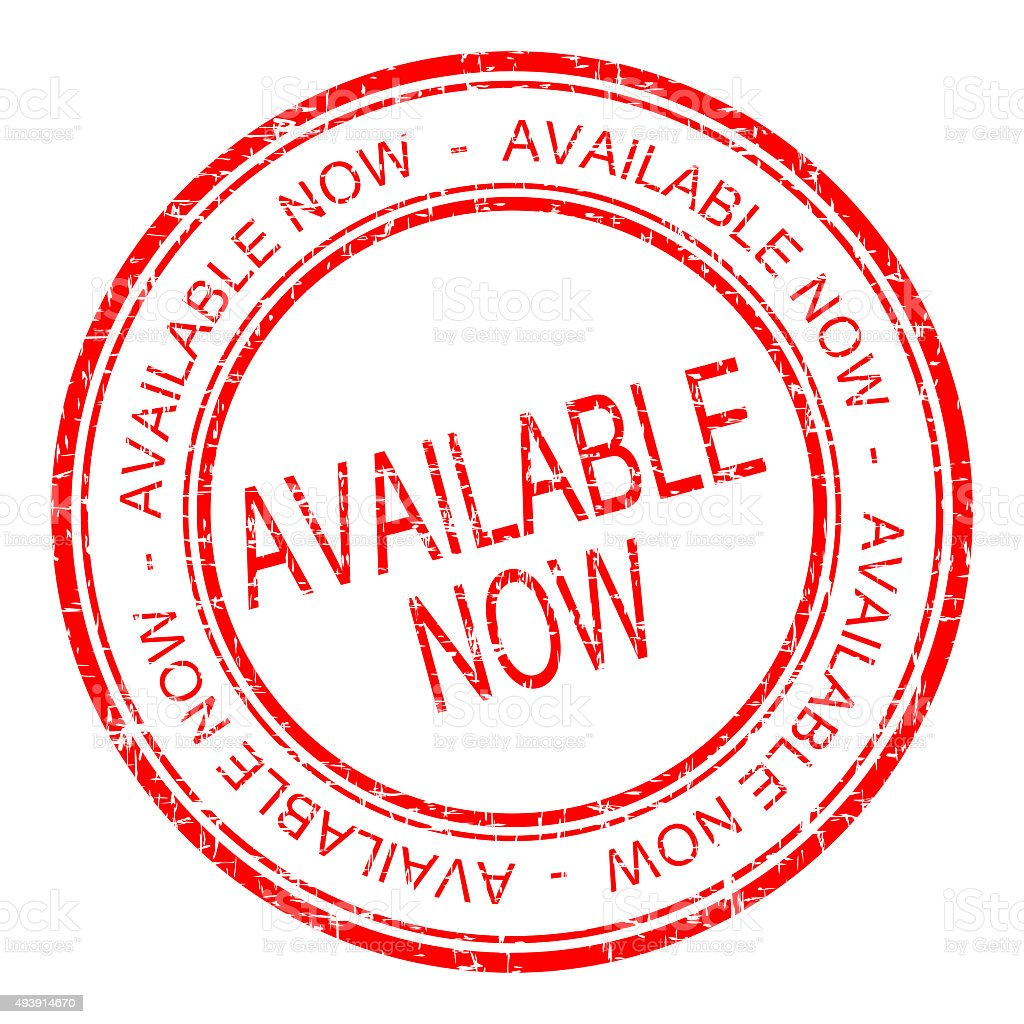 available now rubber stamp stock photo