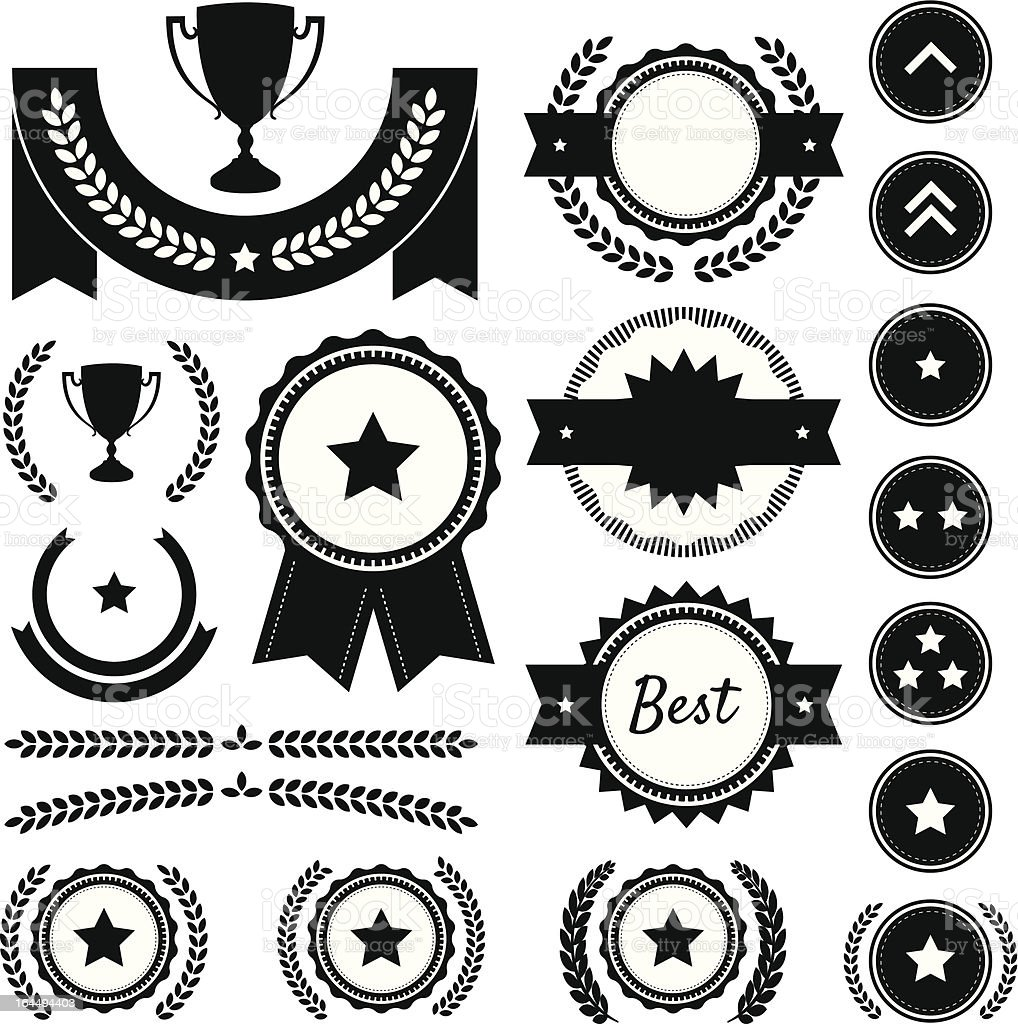 Award, Competition, and Rank Silhouette Element Vector Set royalty-free stock vector art