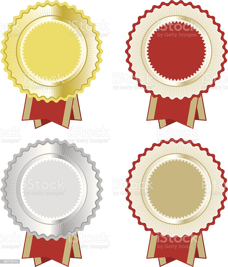 Award Seal Rosette set royalty-free stock vector art