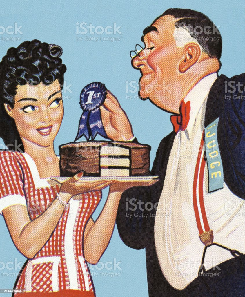 Awarding a Blue Ribbon for a Prize Cake vector art illustration