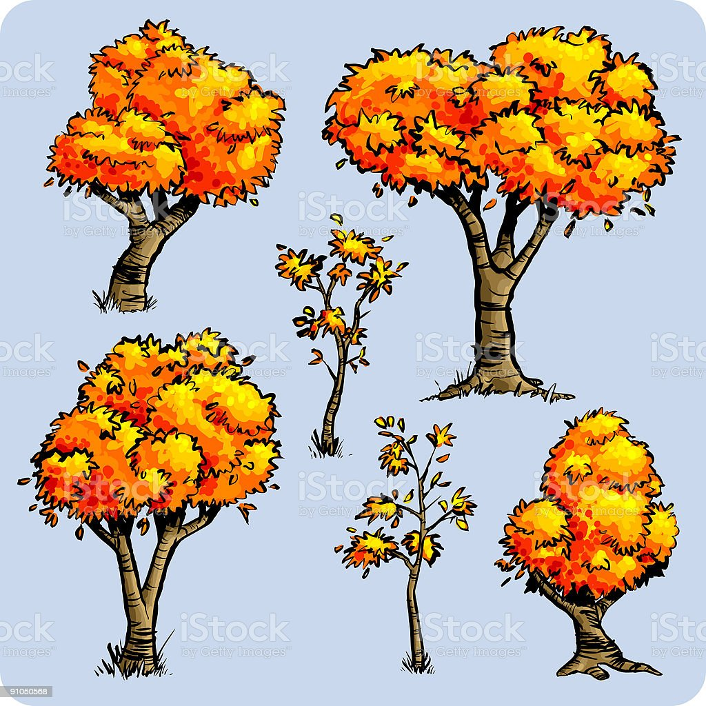 Awesome Autumn Trees vector art illustration