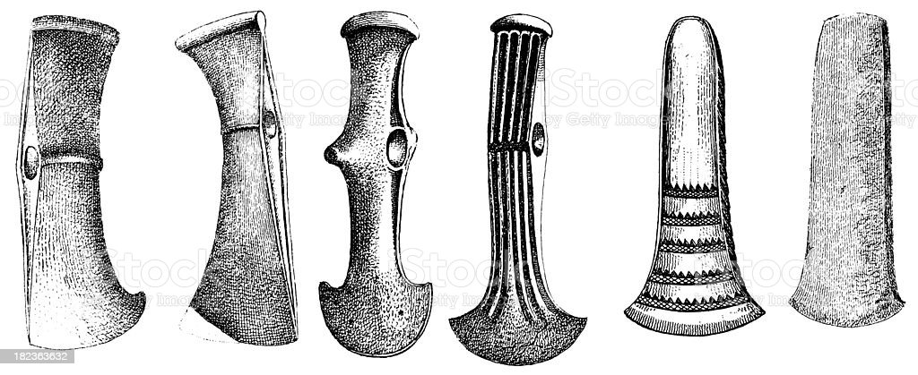 Axes from Bronze Age | Antique Historic Illustrations royalty-free stock vector art