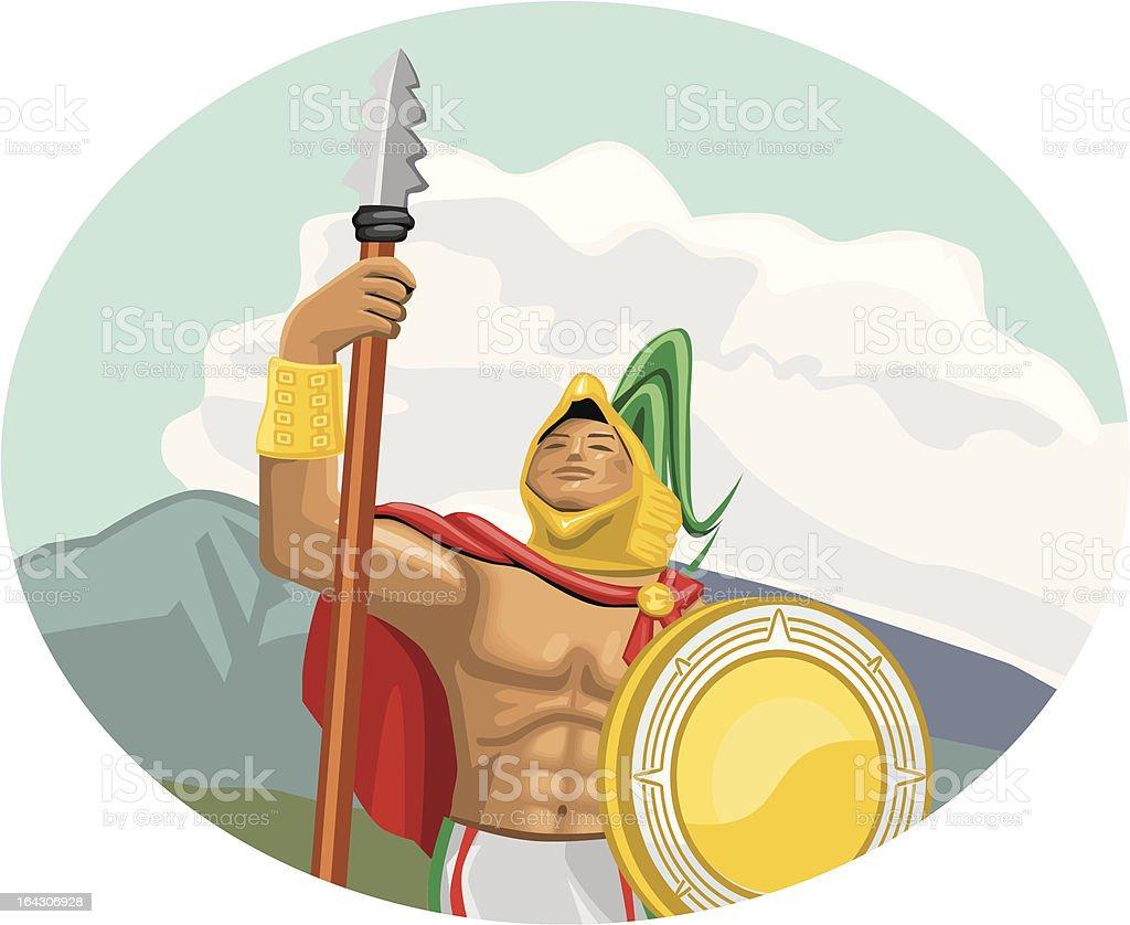 Aztec Caballero Aguila - Eagle knight vector art illustration