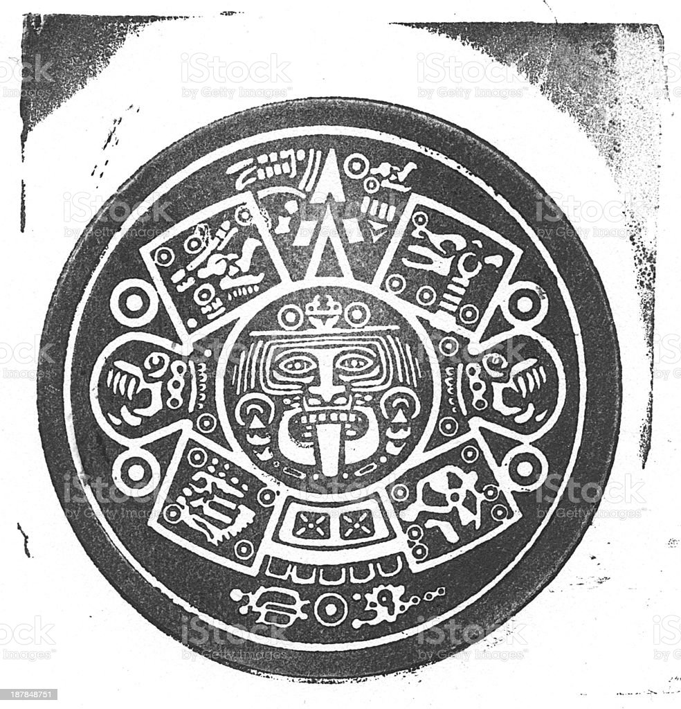 Aztec Calendar Stamp vector art illustration