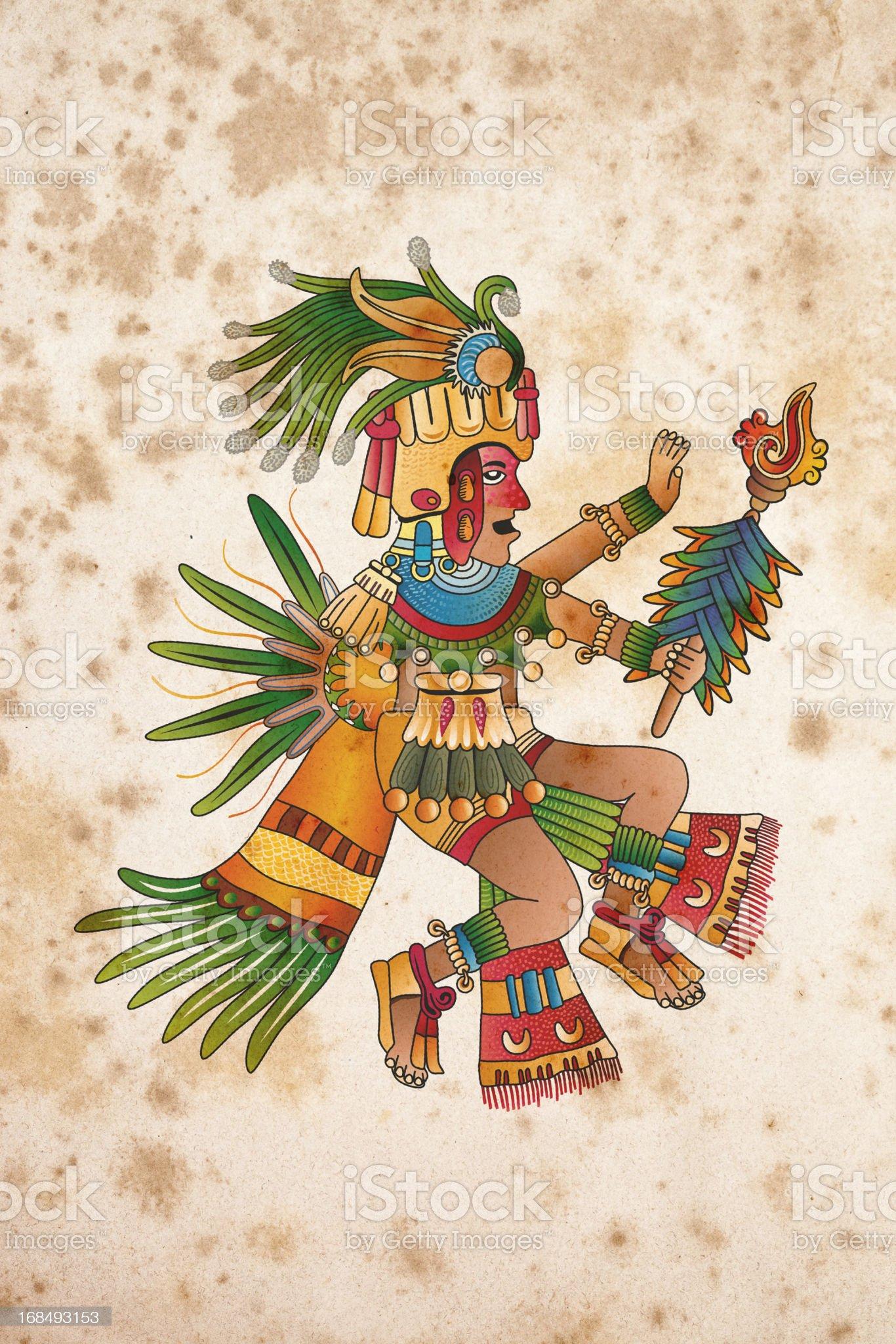 Curandero Aztecas de papel ilustración en illustracion libre de derechos libre de derechos