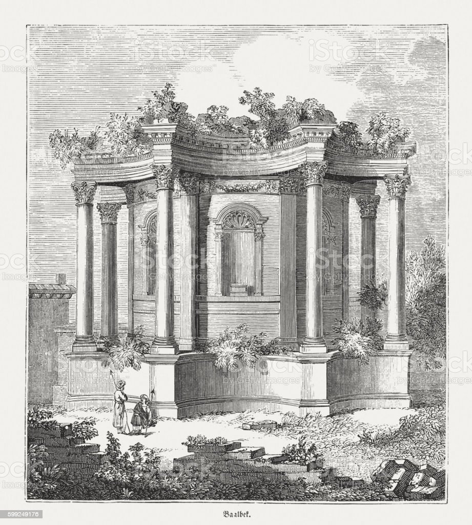 Baalbek (Libanon), Roman Temple of Venus, wood engraving, published 1855 vector art illustration