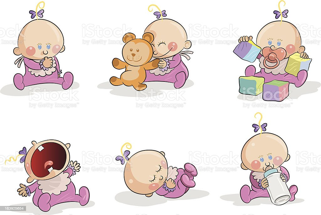 Babies-girls royalty-free stock vector art