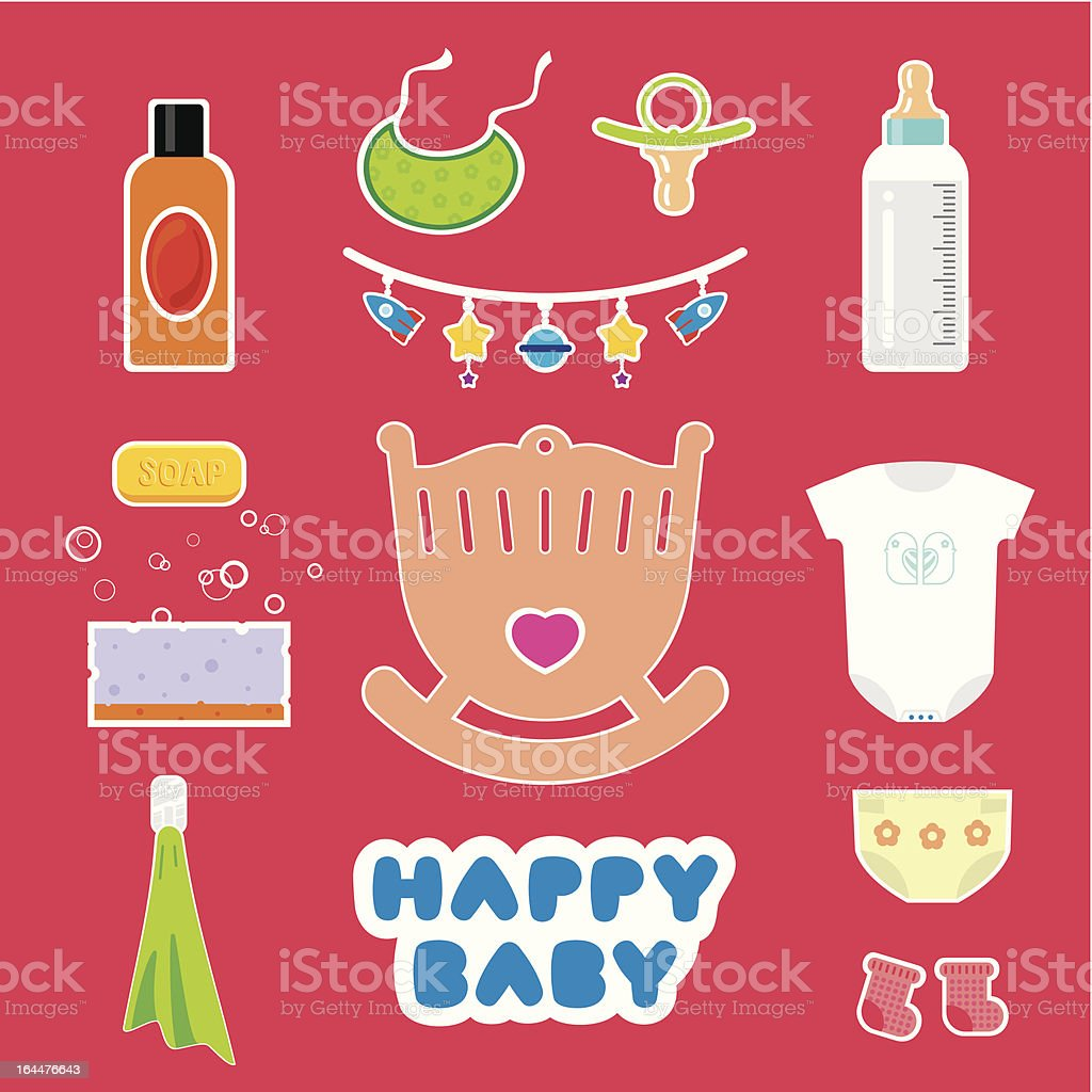 baby accessories and objects royalty-free stock vector art