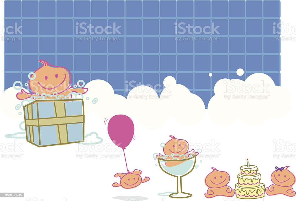 Baby Birthday with a Bubbles Bathroom background royalty-free stock vector art