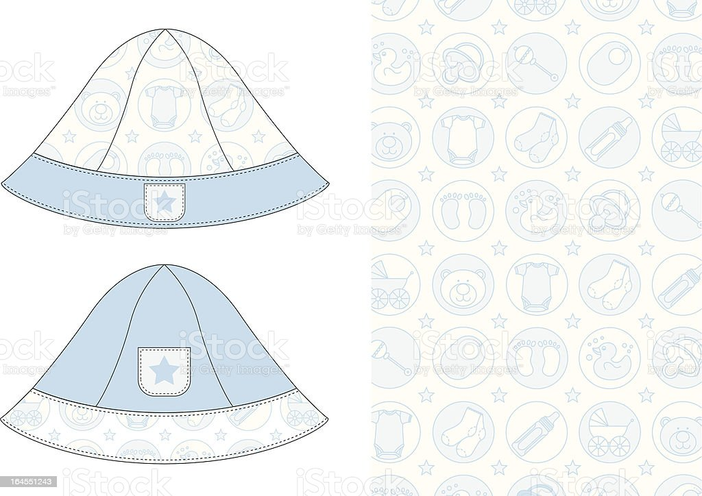 Baby Boys Sun Hat with Cute Icon Pattern royalty-free stock vector art