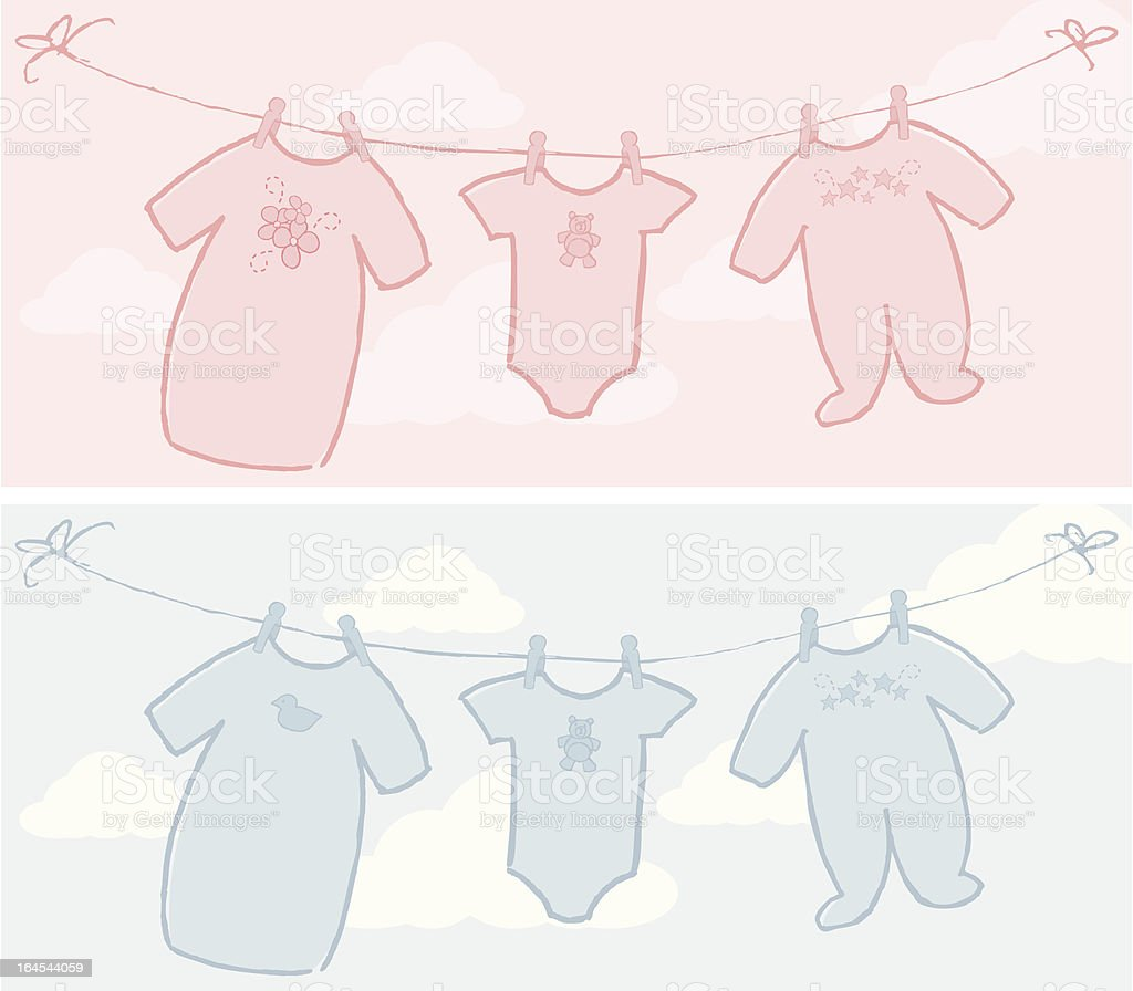 Baby Clothes Line vector art illustration