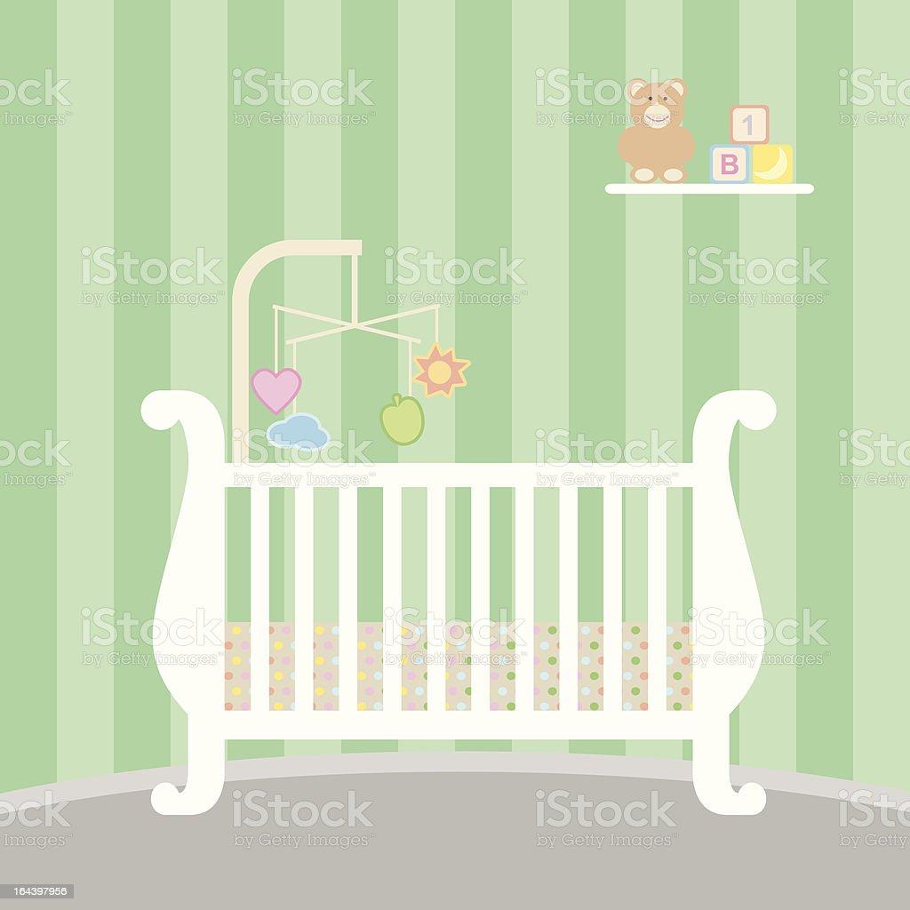 Baby Crib vector art illustration