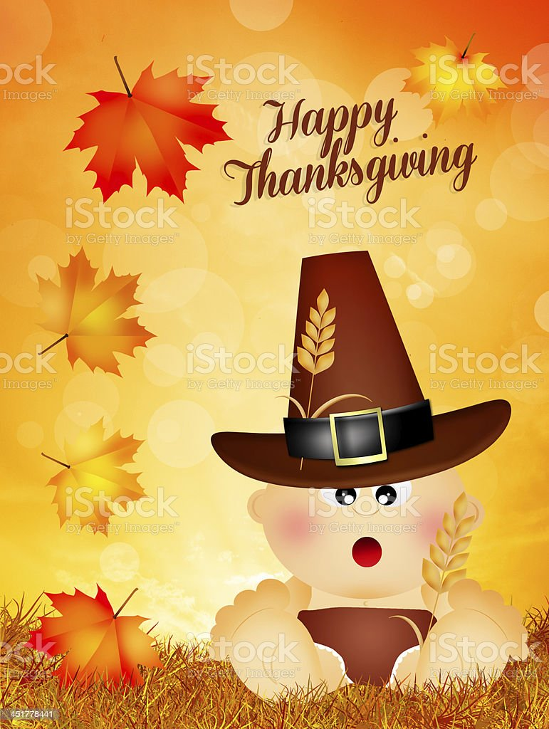 baby for Thanksgiving royalty-free stock vector art