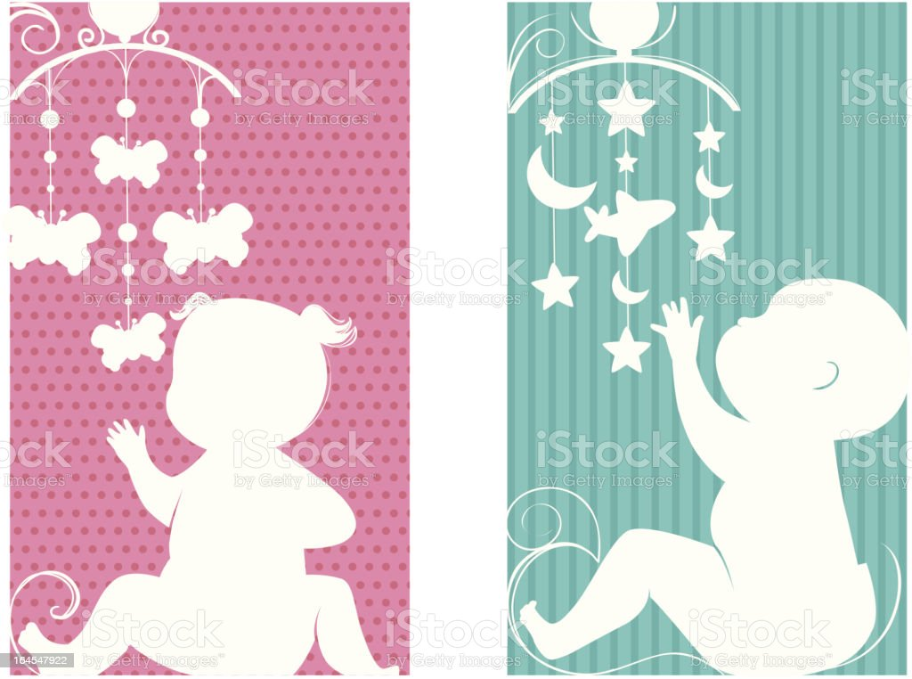 Baby girl and boy decorative banners royalty-free stock vector art