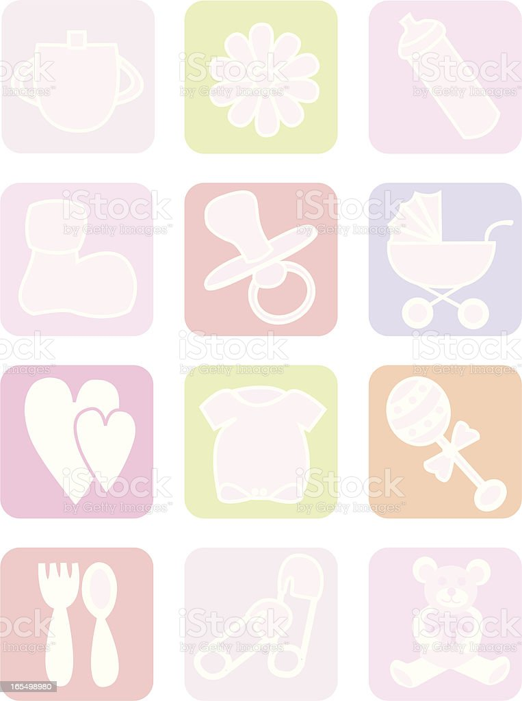 Baby Girl Icons royalty-free stock vector art