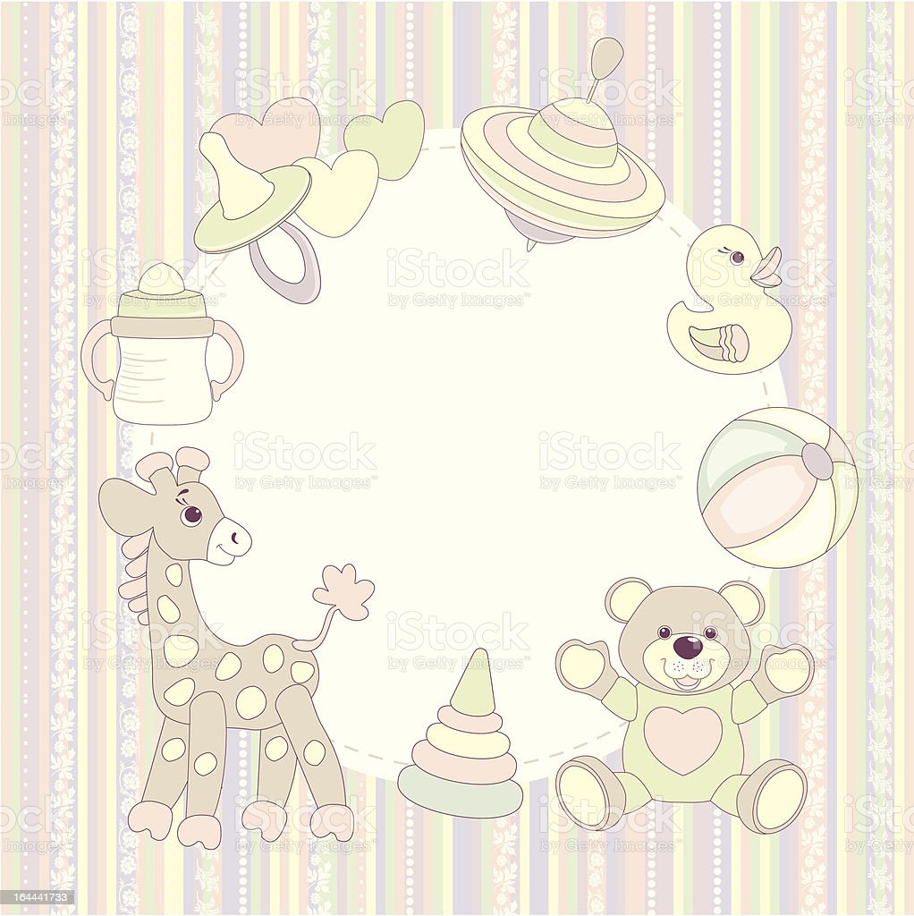 Baby happy birthday greeting card or frame royalty-free stock vector art