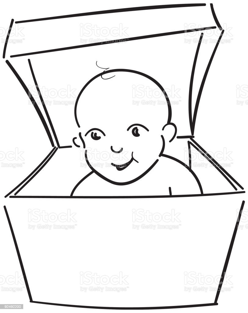 baby in a box royalty-free stock vector art