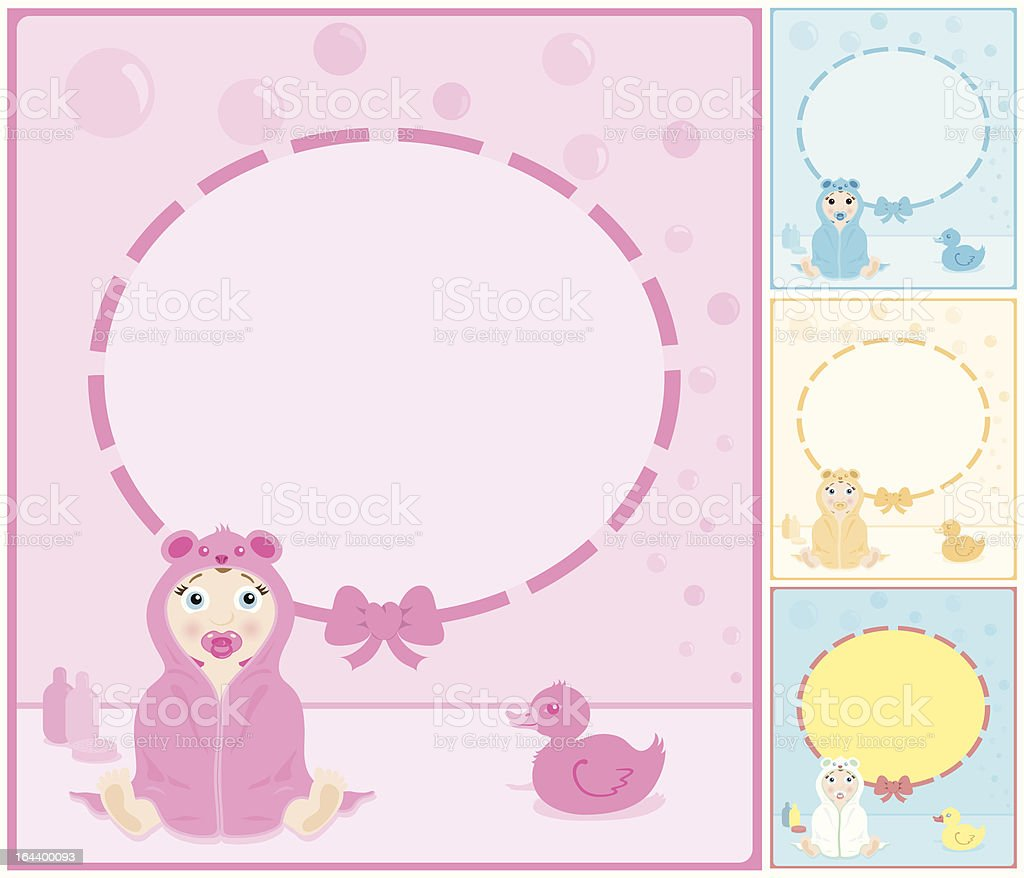 Baby in a hooded towel frame/sign with copy space. royalty-free stock vector art