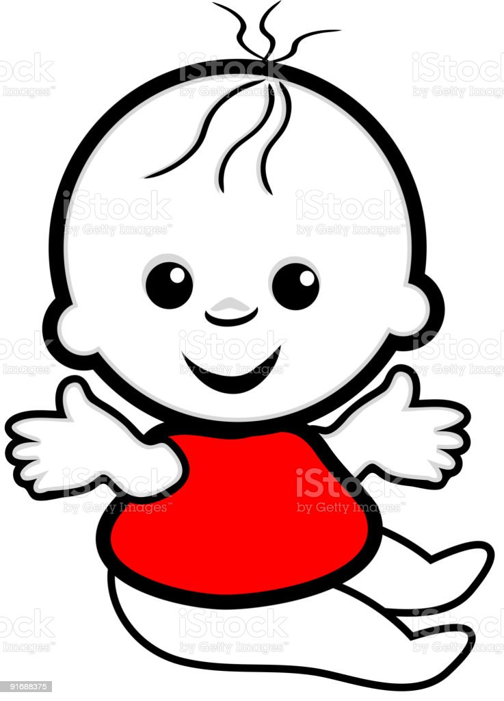 Baby in a red t-shirt vector art illustration