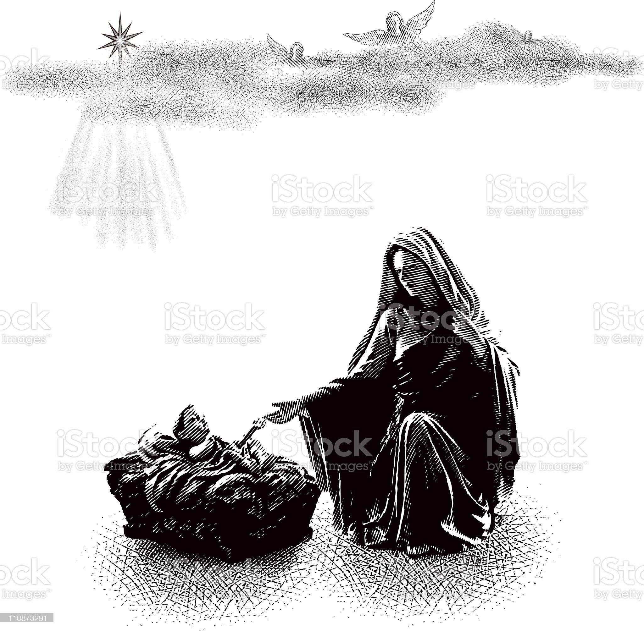 Baby Jesus and Virgin Mary royalty-free stock vector art