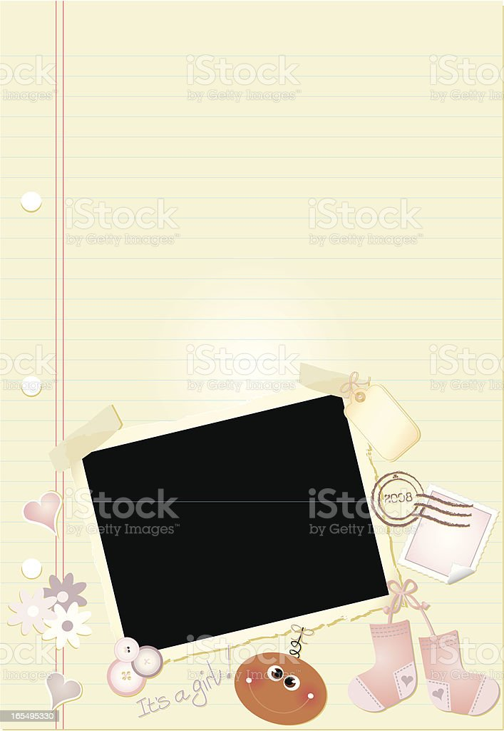 Baby Journal Page (dark-skinned girl) royalty-free stock vector art