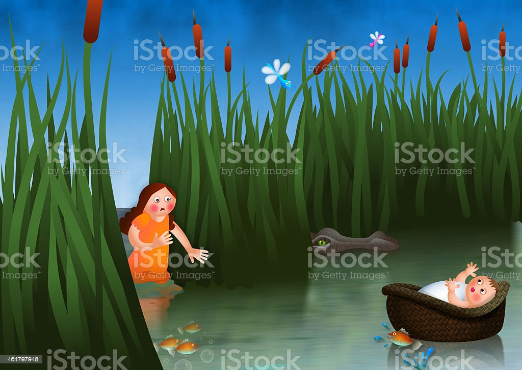 Baby Moses and Miriam vector art illustration