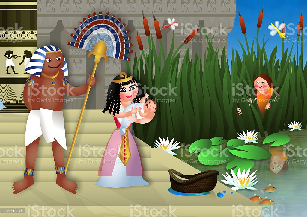 Baby Moses and the Egyptian Princess vector art illustration