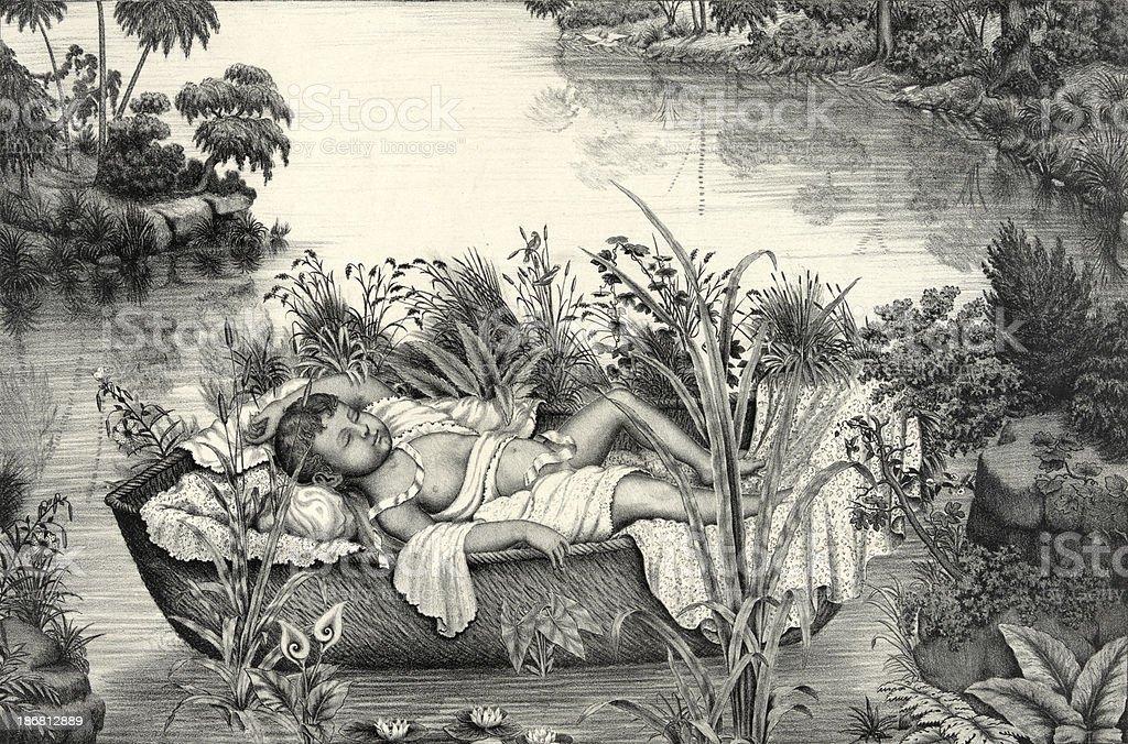 Baby Moses royalty-free stock vector art