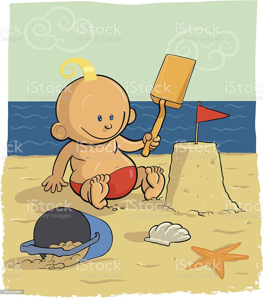 Baby on beach royalty-free stock vector art