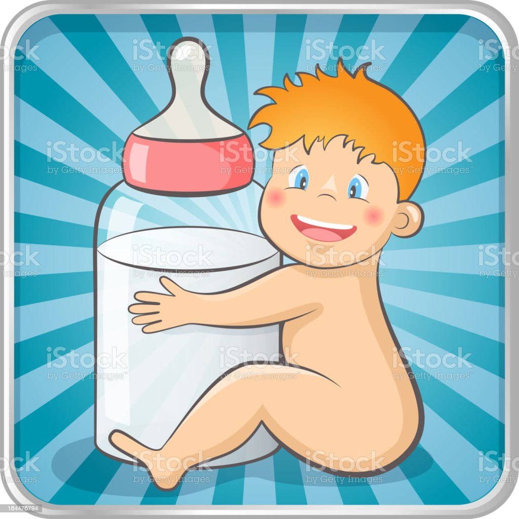 Baby with a bottle royalty-free stock vector art