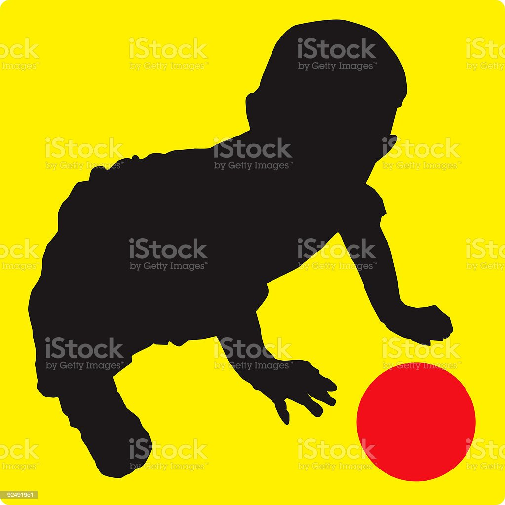 Baby with Ball Silhouette (vector illustration) royalty-free stock vector art