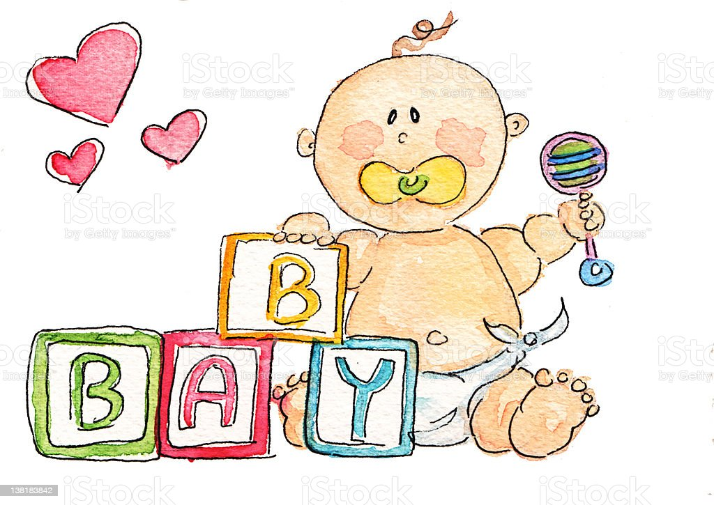 Baby with Blocks royalty-free stock vector art