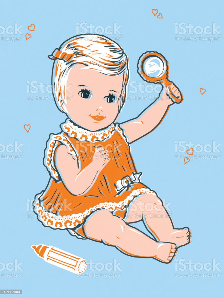 Baby with rattle vector art illustration