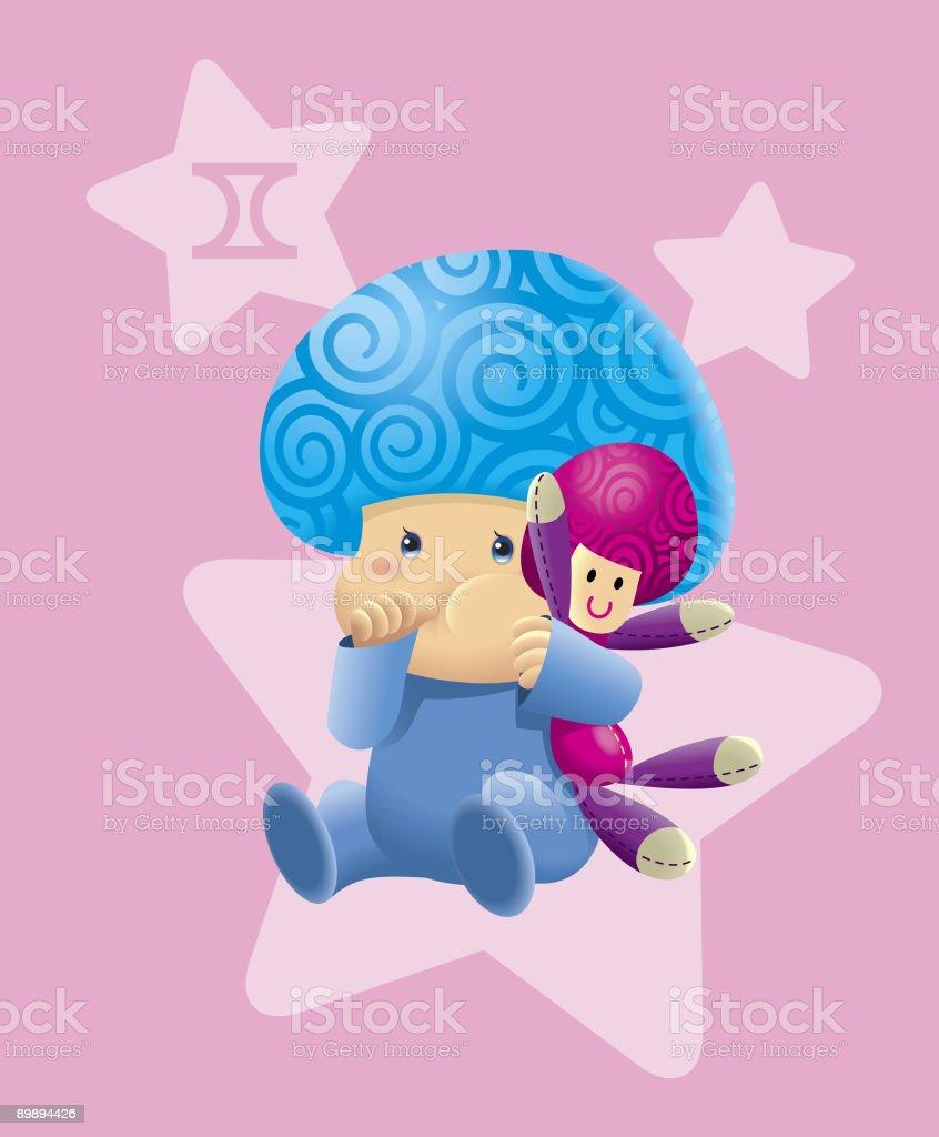 BabyHoroscope - Gemini royalty-free stock vector art