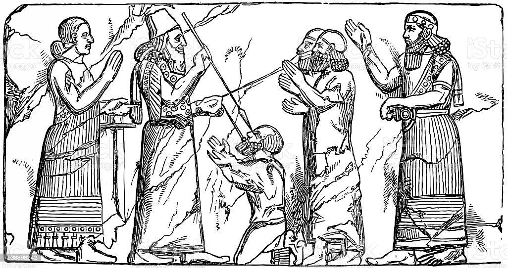 Babylonian and Assyrian art vector art illustration