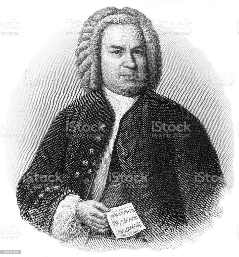 J.S. Bach - Antique Engraved Portrait royalty-free stock vector art