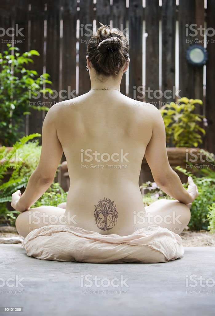 Back of a nude woman meditating royalty-free stock vector art