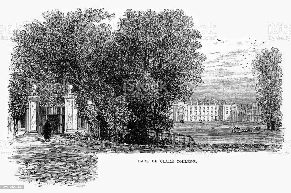 Back of Clare College, Cambridge, Cambridgeshire, England Victorian Engraving, 1840 vector art illustration