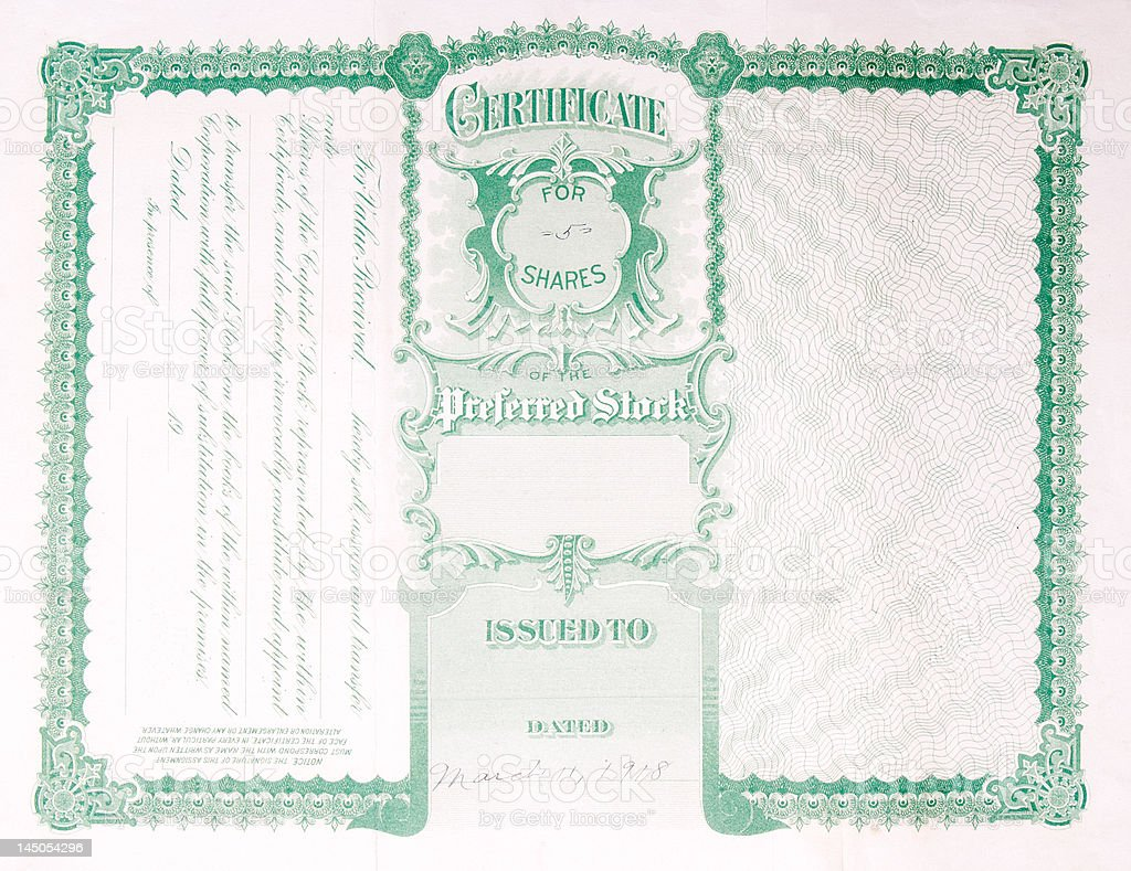 Back Side Reverse Old U.S. Paper Stock Certificate royalty-free stock vector art